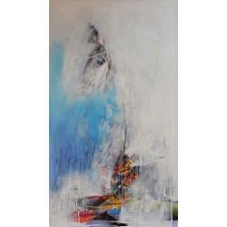 Art abstrait peinture voilier-140x80 cm