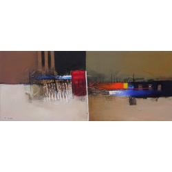 Tableau abstrait horizontal marron- 120x50 cm