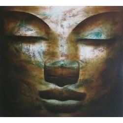 Tableau Bouddha zen- peinture à l'huile- format 100x90 cm