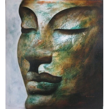Portrait de Bouddha Tableau peinture à l'huile 90x100 cm