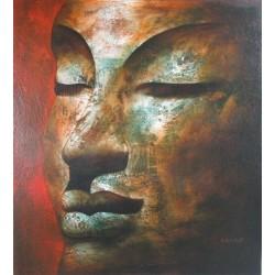 Bouddha sur fond rouge- peinture à l'huile- 90x100 cm