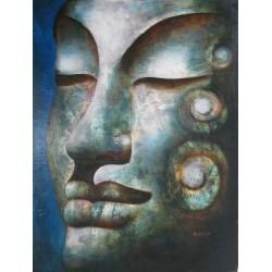 Bouddha-Tableau portrait à l'huile- 90x120 cm
