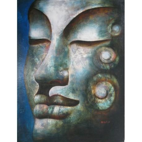 Grand tableau peinture Bouddha tons bleu, portrait à l'huile 90x120 cm