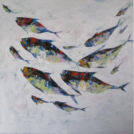 Banc de poissons sur fond blanc- Tableau deco contemporain carré- 100x100 cm