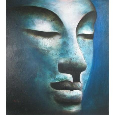 Tableau Bouddha à tête bleu, peinture à l'huile 90x100 cm, toile unique