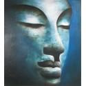 Bouddha à tête bleutée- peinture à l'huile- 90x100 cm