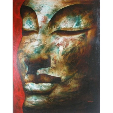 Bouddha-portrait peinture à l'huile- 100x130 cm