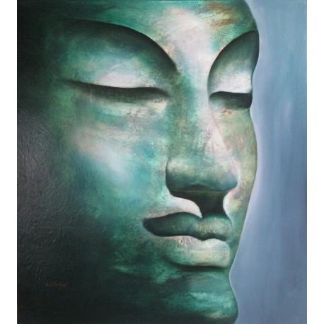 Bouddha-Toile peinture à l'huile- 90x100 cm