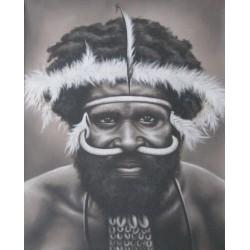 PEINTURE TRIBALE Homme Papou- 100x80 cm