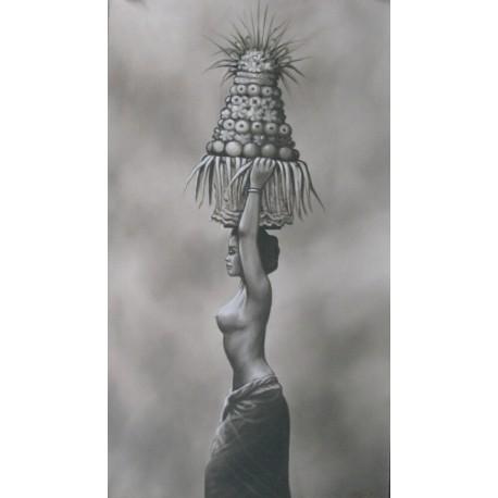 PEINTURE FEMME BALINAISE ET OFFRANDES-120x70 cm