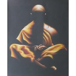 Peinture-moine-bouddhiste-orange-decoration-murale-zen-originale-Agus