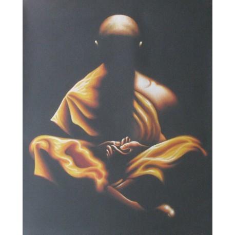 Peinture moine bouddhiste robe orange en meditation zen