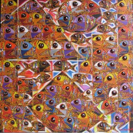 Tableau carré poissons piranhas multicolores- 100x100 cm