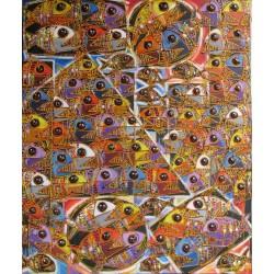 Tableau poissons piranhas multicolores- 120x100 cm