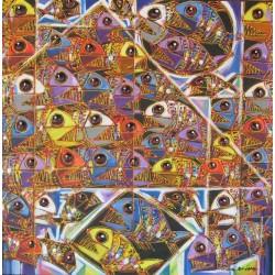 Tableau carré poissons multicolores- 80x80 cm
