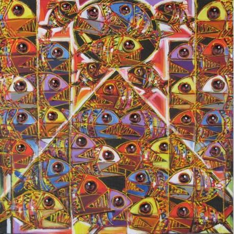 Tableau carré poissons multicolores- 60x60 cm