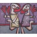 Peinture naïve flirt enfants - 50x60 cm