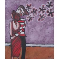Peinture naïve ados amoureux - 50x60 cm