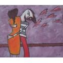 Tableau naïf ados amoureux - 50x60 cm