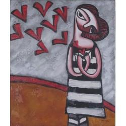 Tableau naïf jeune fille rêvant de coeurs - 50x60 cm