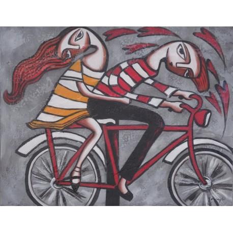 Tableau naïf 2 personnages sur un vélo 70x90 cm