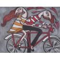Tableau naïf jeunes sur un vélo - 70x90 cm