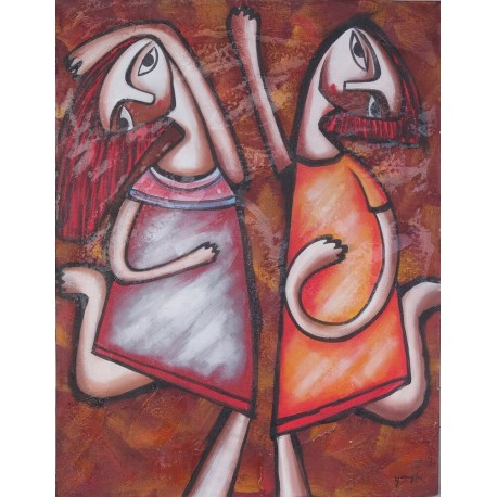 Tableau peinture naïve filles et gym - 70x90 cm