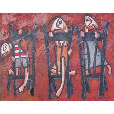 Tableau naïf 3 enfants sur des chaises - 70x90 cm