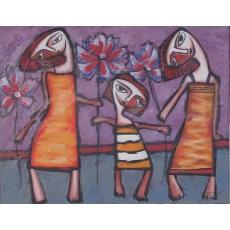 Tableau naïf fillettes avec des fleurs - 70x90 cm