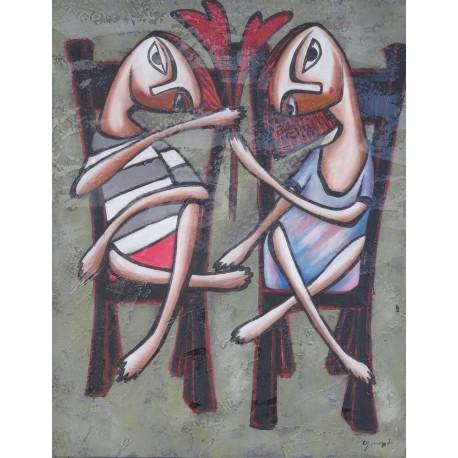 Peinture naïve enfants assis sur des chaises- 70x90 cm