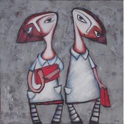 Peinture naïve enfants avec des livres - 100x100 cm