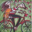 Peinture naïve jeune fille et garçon sur un vélo- 100x100 cm