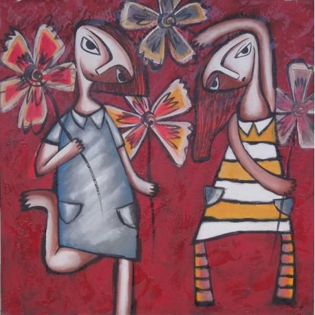 Peinture naïve fillettes avec des fleurs- 100x100 cm