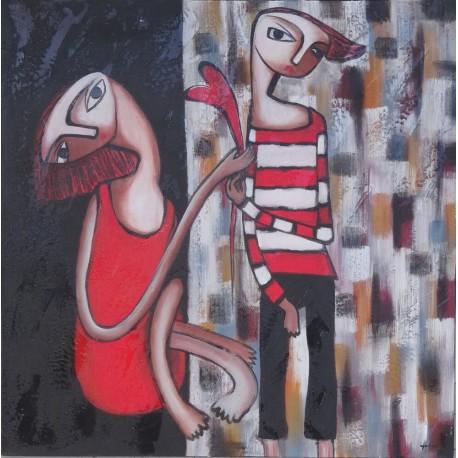 Peinture naïve ados flirtant- 100x100 cm