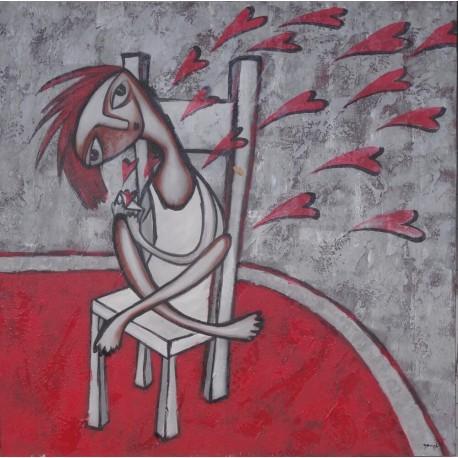 Peinture naïve jeune envoyant des coeurs - 100x100 cm