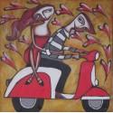 Peinture naïve jeunes amoureux sur une vespa- 100x100 cm