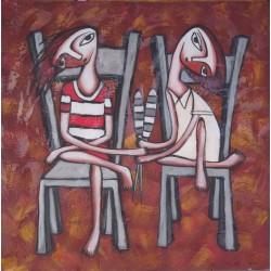 Peinture naïve enfants sur des chaises- 100x100 cm