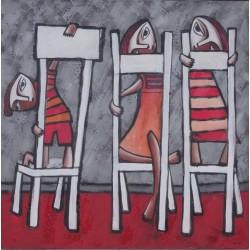 Peinture naïve 3 enfants sur des chaises- 100x100 cm