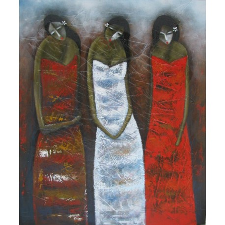 Tableau-Femmes en sarong- 120x100 cm