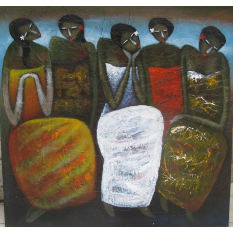 Tableau Femmes Balinaises en sarong- 130x125 cm