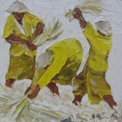 Cultivateurs aux rizières-Tableau à l'huile- 40x40 cm