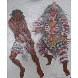 Barong dance-Tableau à l'huile- 60x50 cm