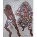 Barong dance bali-Tableau à l'huile- 60x50 cm