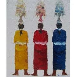 Femmes Balinaises porteuses d'offrandes-Tableau à l'huile- 60x50 cm