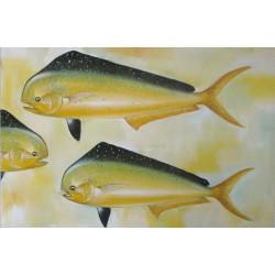 Dorades coryphènes-Mahi mahi- Tableau de poissons jaunes- 120x80 cm