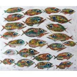 Tableau banc de poissons sur fond blanc- 120x100 cm