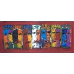 Tableau horizontal maques- 120x50 cm