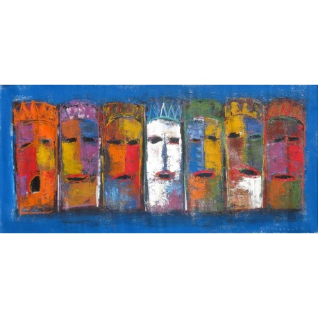 Tableau peinture de masques ethniques- 150x70 cm