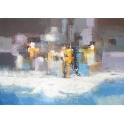 The beach- peinture abstraite très grande taille 200x140 cm