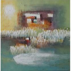 RICE FIELD-Peinture contemporaine de rizière- 100x100-Dex kusuma